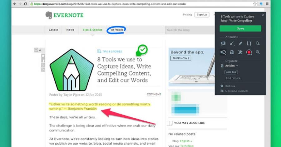 evernote web clipper extension chrome contenido
